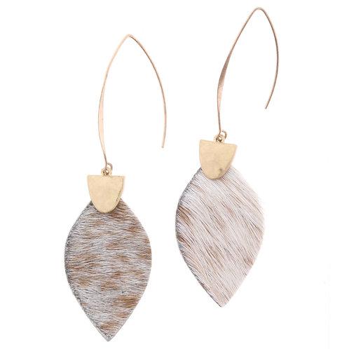 Jane Marie White/Cream Cowhide Earrings