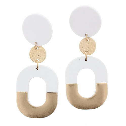Jane Marie White & Gold Earrings