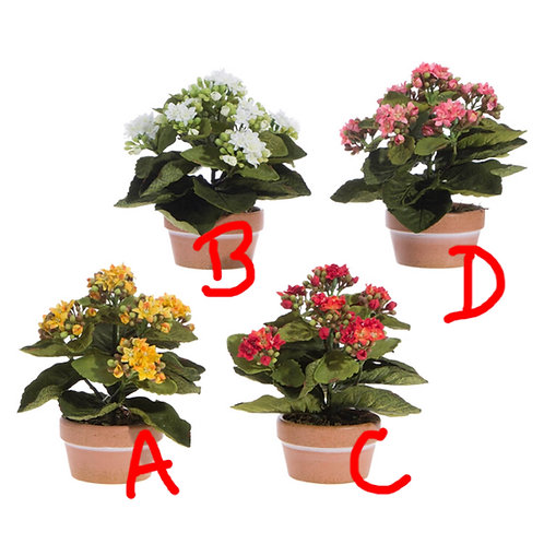 """7.5"""" (B) Artificial White Potted Kalanchoe Plant"""