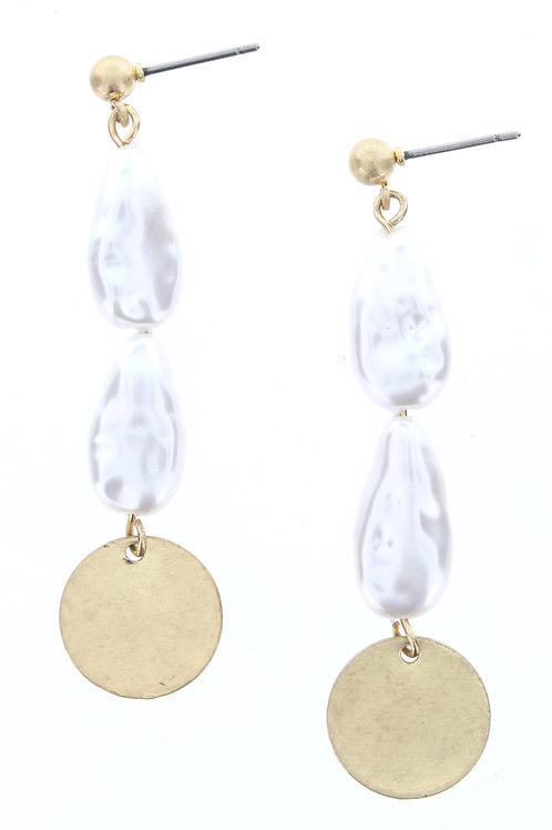 Jane Marie Pearl/Gold Drop Earrings