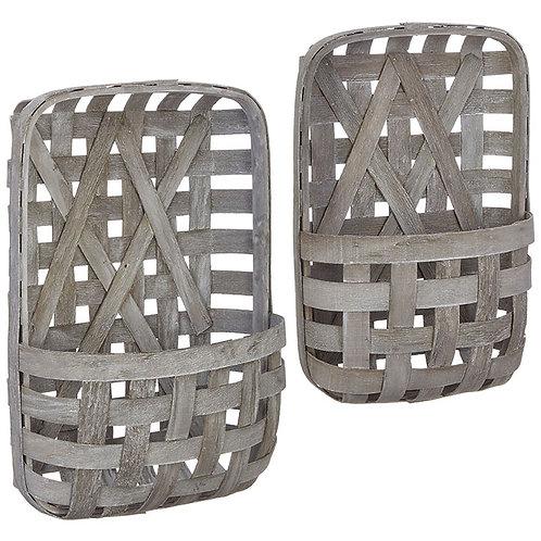 "22.5"" White Washed Tobacco Baskets (Set)"