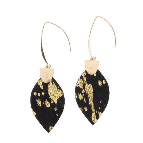 Jane Marie Jet Black Gold Cowhide Earrings