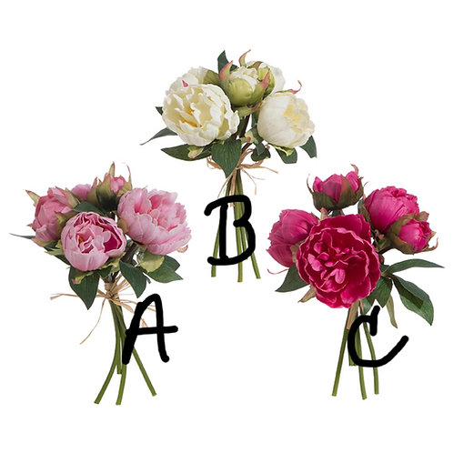 "10"" (C) Ruby Real Touch Faux Peony Bundle"
