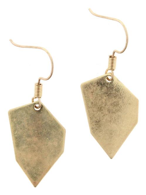 Jane Marie Gold Irregular Hexagon Earrings