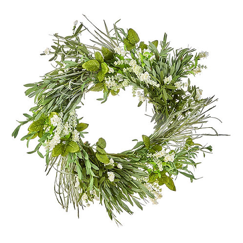 """23"""" Mixed Herb and Floral Wreath"""