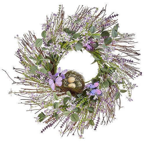 """25"""" Mixed Floral and Butterfly Wreath"""
