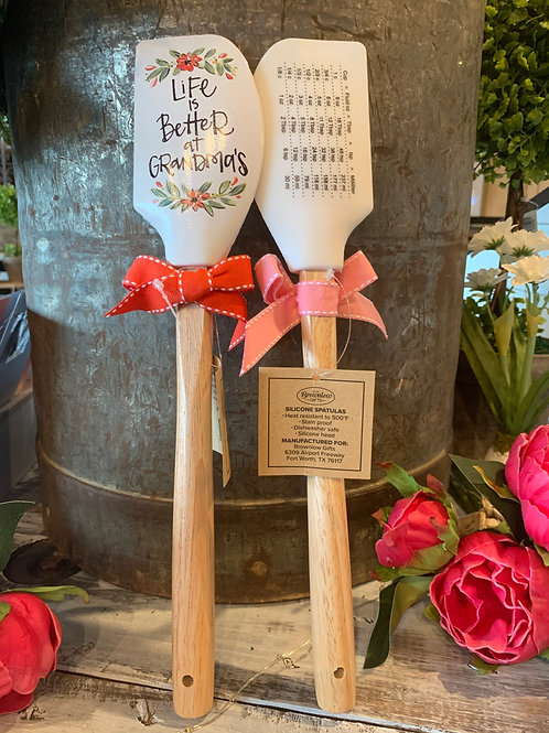 "Spatulas with Measuring Table on Back ""Life is Better at Grandma's"""