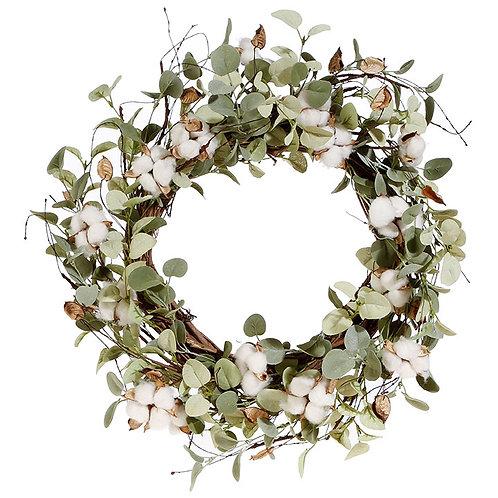"22"" Eucalyptus & Cotton Wreath"
