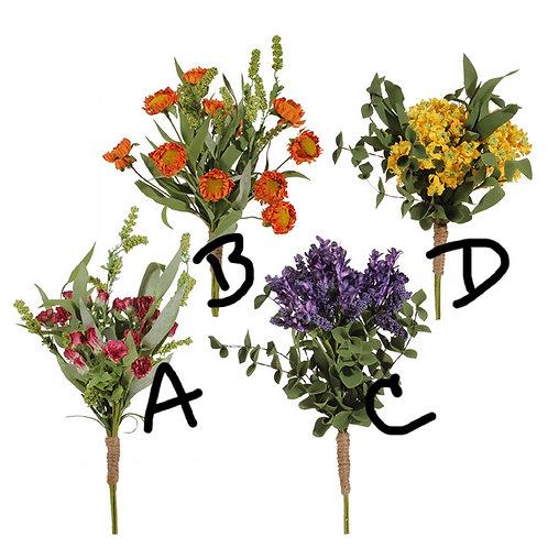 "12"" (B) Artificial Orange Floral Bundle"