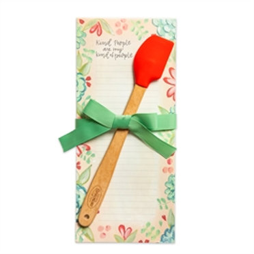 "Mini Notepad & Mini Silicone Spatula ""Kind People Are My Kind of People'"""