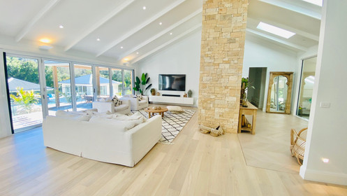 Open plan living area in renovation - MacMasters beach