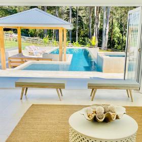 Coastal style pool cabana