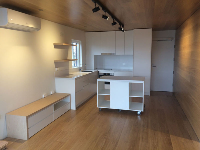 Compact living space in a small 2 bedroom apartment