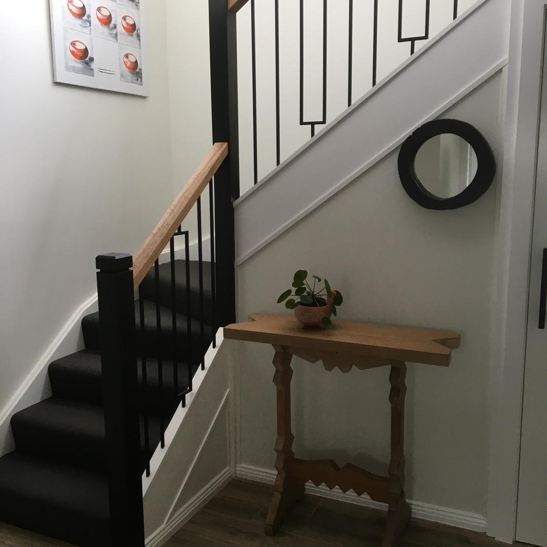 Dark grey and white stair