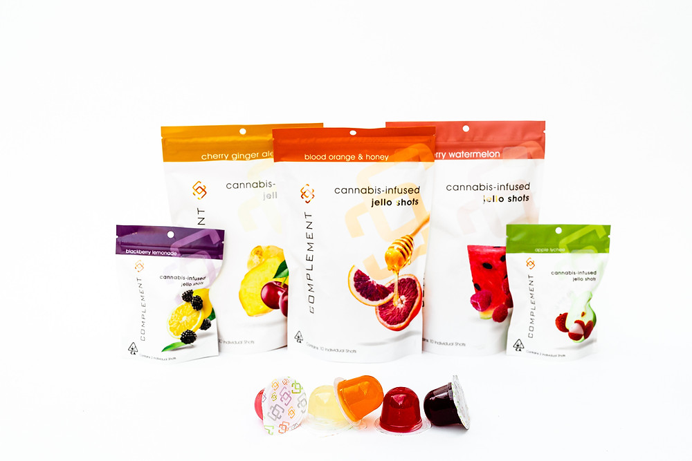 Complement Cannabis Cannabis product offering THC jello shots blackberry lemonade, cherry ginger ale, blood orange & honey, strawberry watermelon, apply lychee in 10 pack and 2 pack