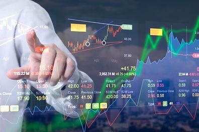 Stock market digital graph chart on LED