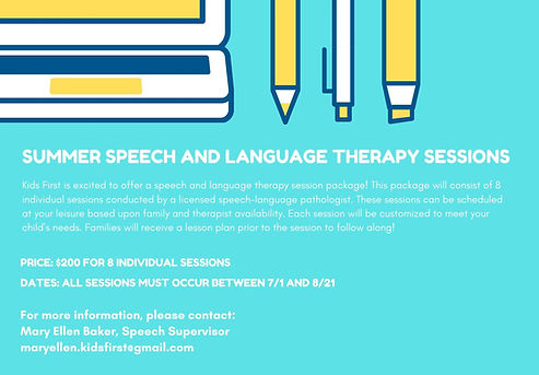 Summer Speech and Language Therapy Sessi