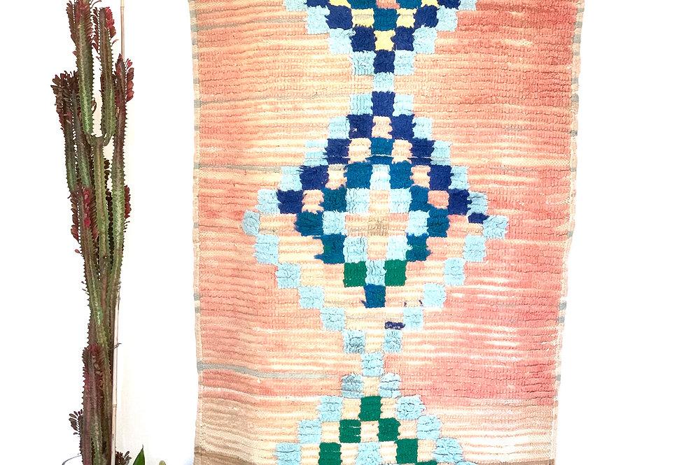 Pink & Blue Hand-Woven Boucherouite Rug