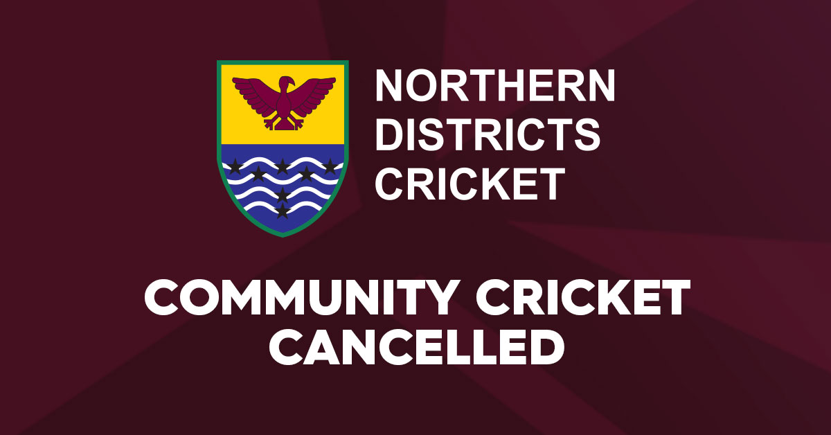 Community Cricket Cancelled
