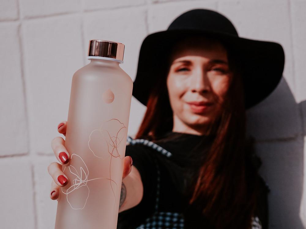 fľaša zo skla Equa Mismatch Bloom