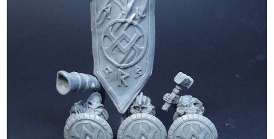 Dwarf command group with shield