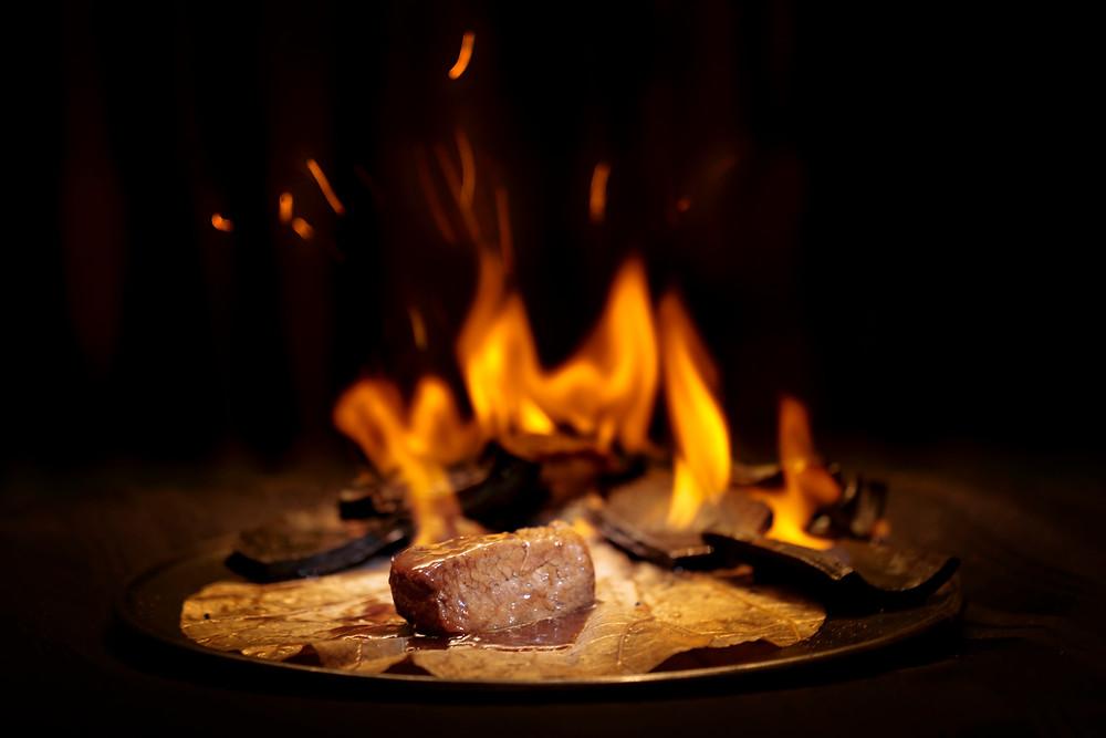 A piece of Wagyu beef in bamboo charcoal, The Ritz-Carlton, Sanya, Yalong Bay, China