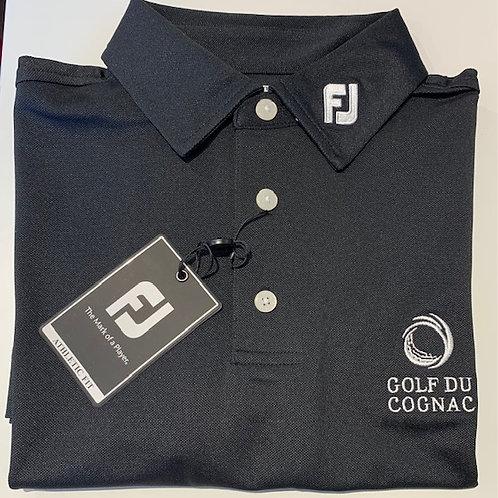 """FJ POLO STRETCH PIQUE Noir Logo """"GOLF DU COGNAC"""""""
