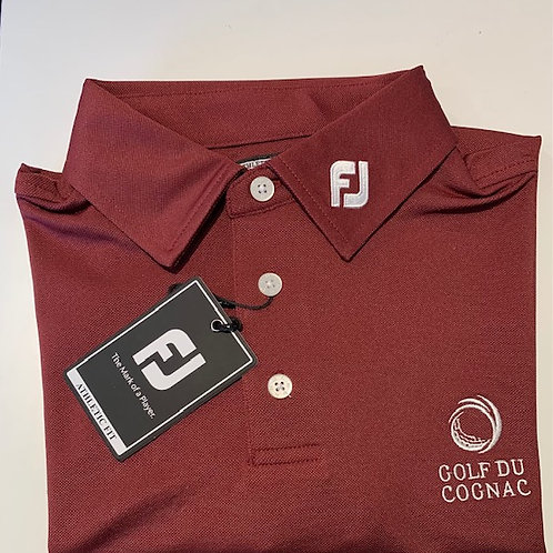 """FJ POLO STRETCH PIQUE Bordeaux Logo """"GOLF DU COGNAC"""""""