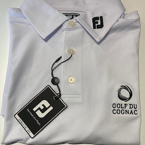 """FJ POLO STRETCH PIQUE Blanc Logo """"GOLF DU COGNAC"""""""