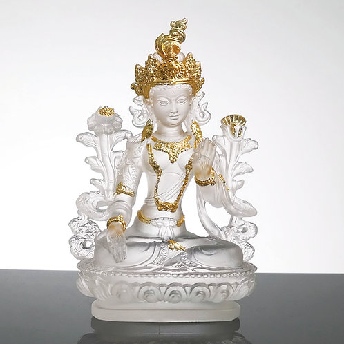 白度母 11cm (貼金)White Tara with gilded