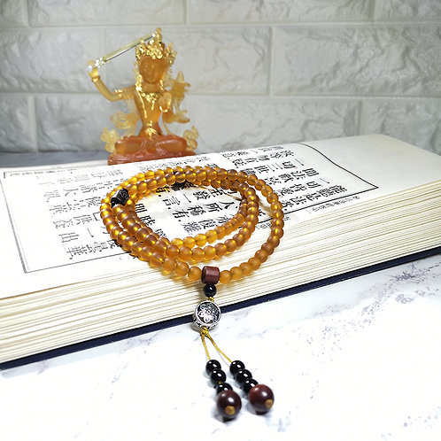 108 琉璃琥珀念珠 6mm/ 108 prayer beads in amber  6mm