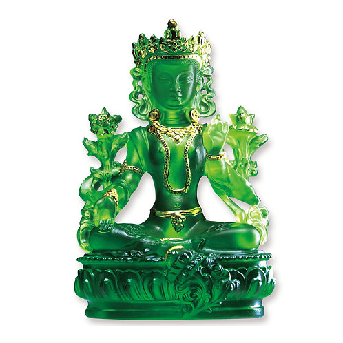 綠度母 (貼金)20cm /Green Tara with gilded