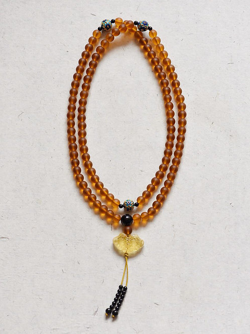 108 琉璃琥珀色念珠 8mm/ 108 prayer beads in amber colour 8mm