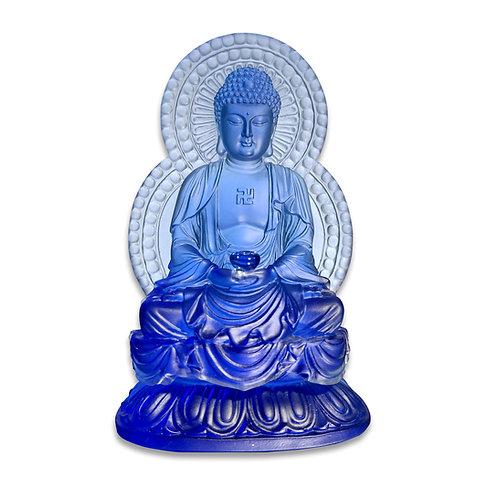 背光藥師佛(藍色) 18.5cm/Medicine Buddha in blue