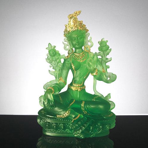 綠度母 貼金 21cm / Green Tara with gilded
