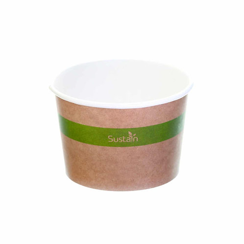Sustain Compostable Food Pot – Printed, Kraft – 10oz / 300ml