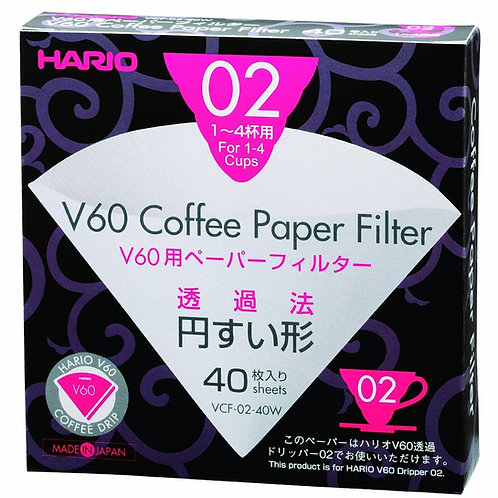 Hario V60 Filter Paper White 02 Dripper 40 pack