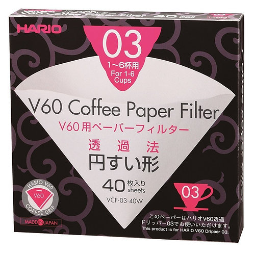 Hario V60 Coffee Filter Papers White 03 Size 1-6 Cups 40 Pack