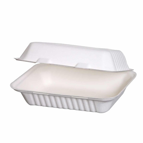 Sustain Bagasse 9×6″ Rectangular Clamshell – Lightweight