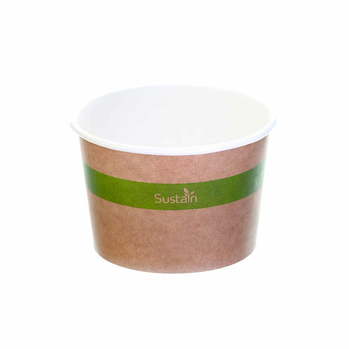Sustain Compostable Food Pot – Printed, Kraft – 8oz / 240ml