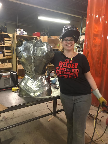 Margaret with sculpture 2.JPG