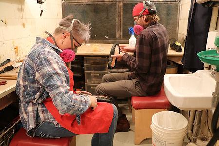 2 Karen & Adam work on shoes.JPG