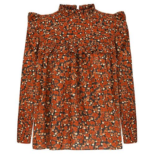 FREA Olivia Toprak Rengi Çiçekli Bluz