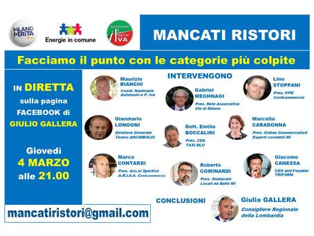 MANCATI RISTORI -NE PARLIAMO CON LE CATEGORIE PIU' COLPITE