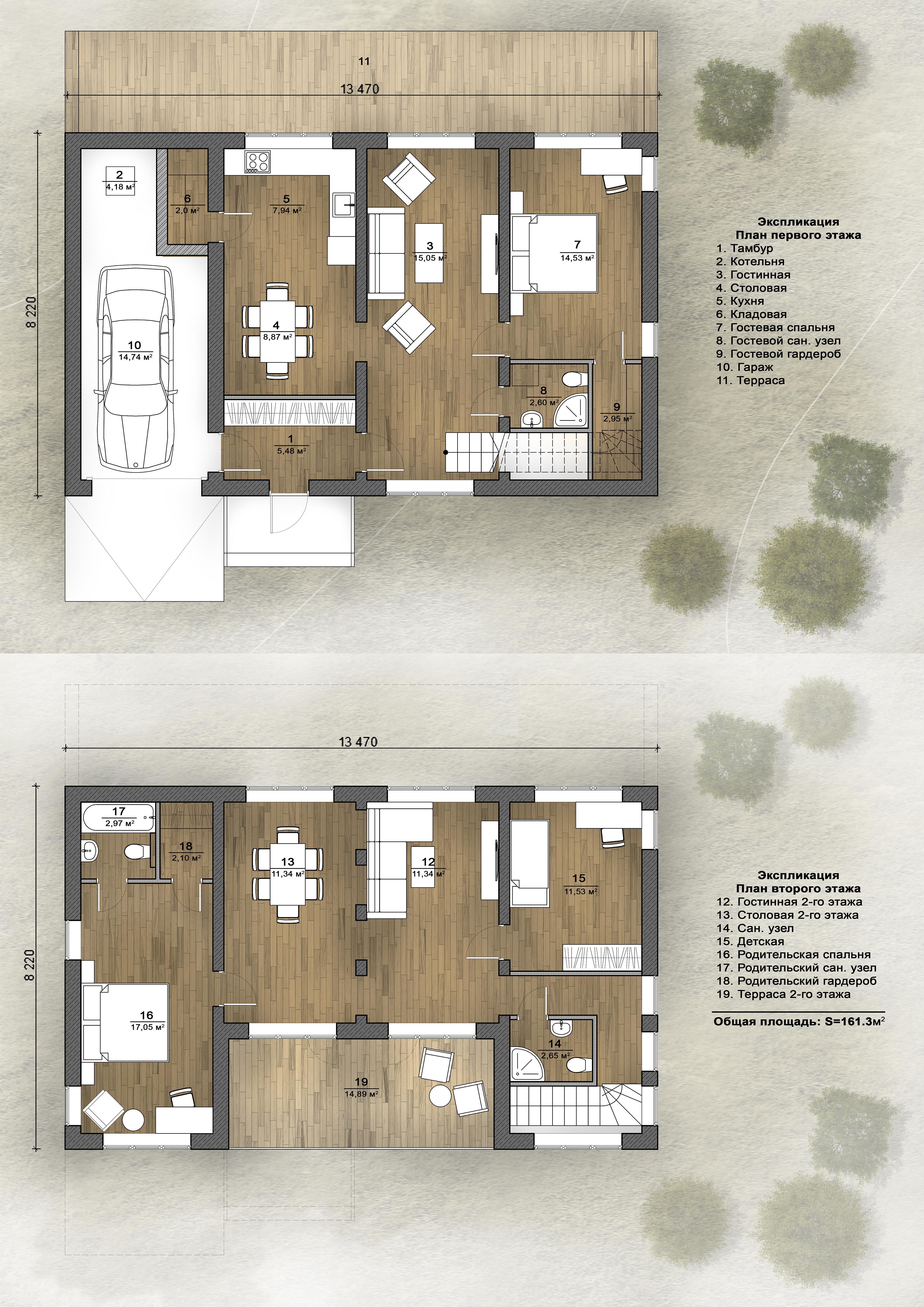 Экспликация помещений дома на 180м2