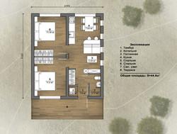 Экспликация помещений дома на 45 м2