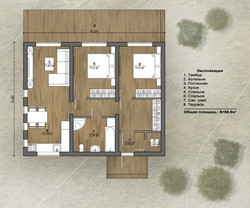 Экспликация помещений дома на 68 м2