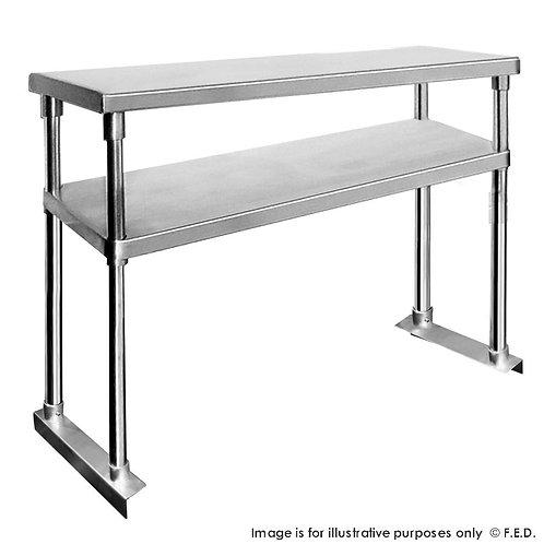 Double Tier Workbench Flat Feet Overshelf 750mm High