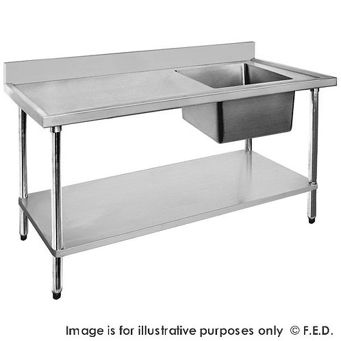 Economic 304 Grade SS Right Single Sink Bench 1500x600x900 with 500x400x250 sink