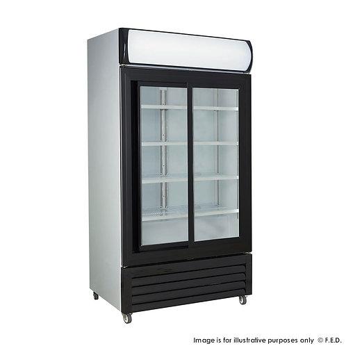 Large black sliding two glass door colourbond upright drink fridge LG-1000SDBG